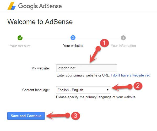 Add blog url to adsense