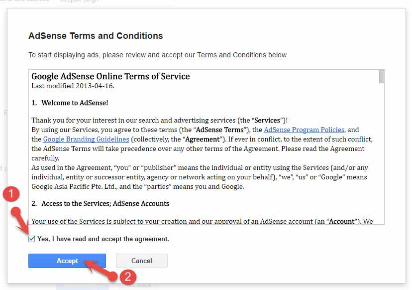 Adsense accept agreement