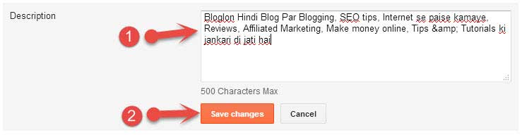 Blogger Blog Description setting