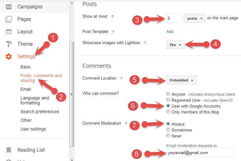 Blogger Post and Comment settings