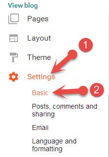 Blogspot basic settings