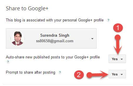 Share to Google+ settings