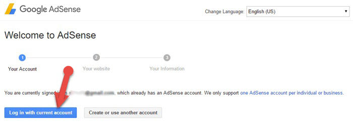 login with current account adsense