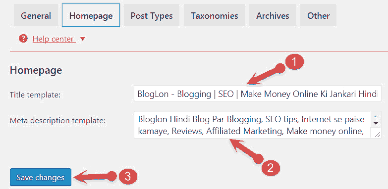 Homepage title settings