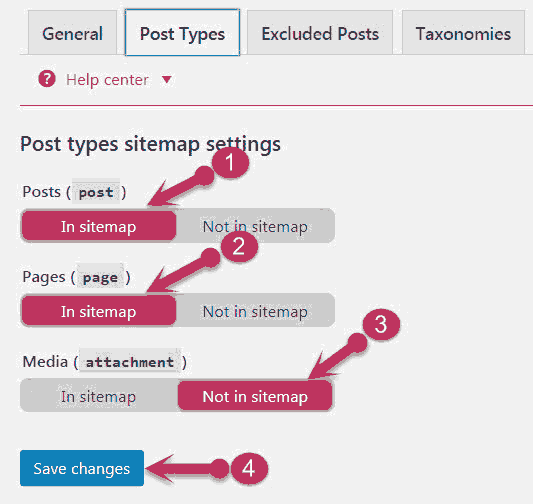 Post types sitemap settings