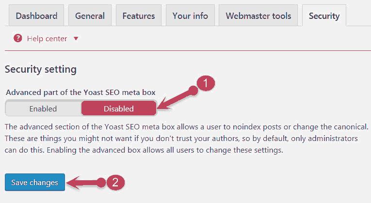 Yoast seo Security settings