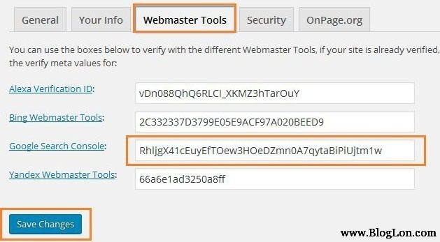 Yoast seo webmaster tool to verify blog