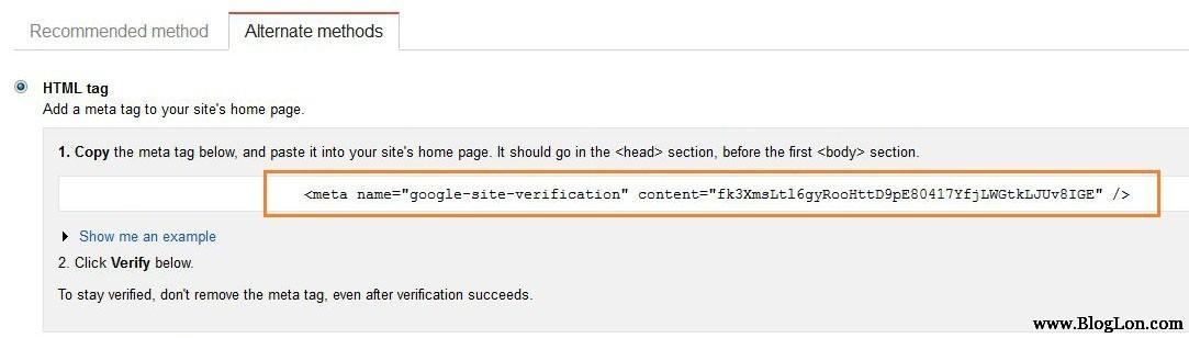 submit site to google meta tag