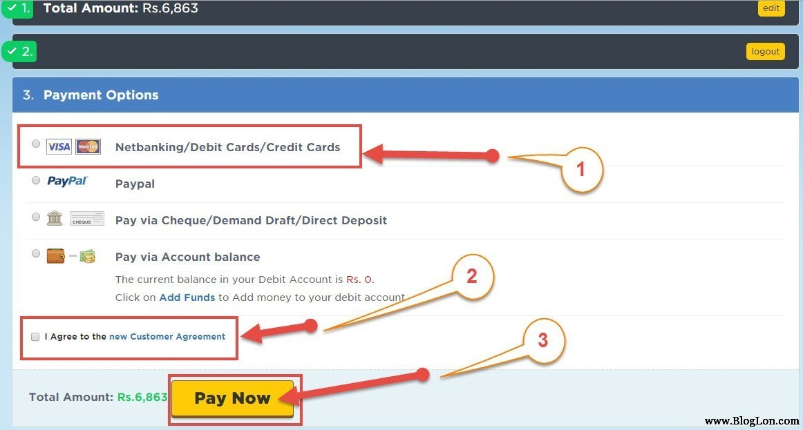 payment method to pay hostgator india
