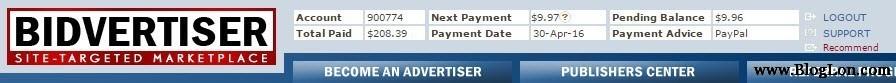 bidvertiser payment proof