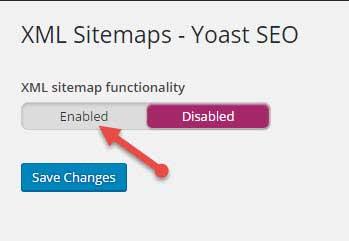 enable xml sitemap by yoast seo