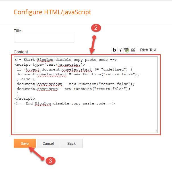 Add code to blogger widget