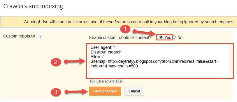 Blogger Blog Me Custom Robots.txt file Add Kare