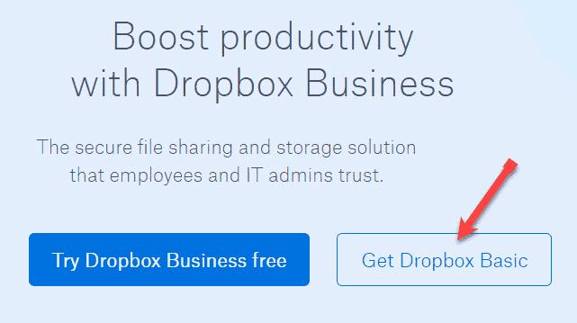 Get Dropbox Basic