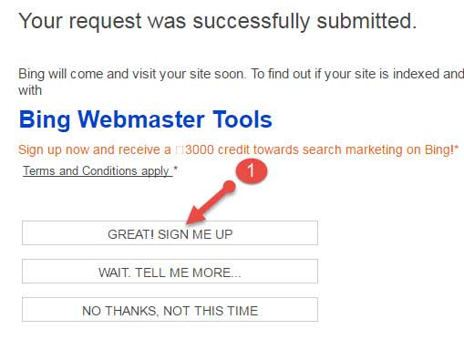 Sign me up bing webmaster tool