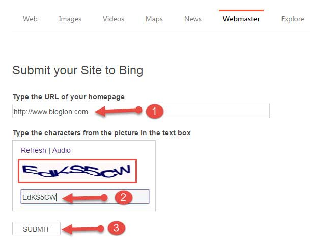 Submit your site to bing