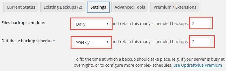 UpdraftPlus-Backups Plugin settings kare