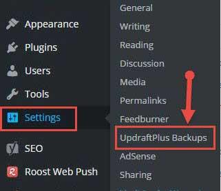 UpdraftPlus Backups Plugin settings