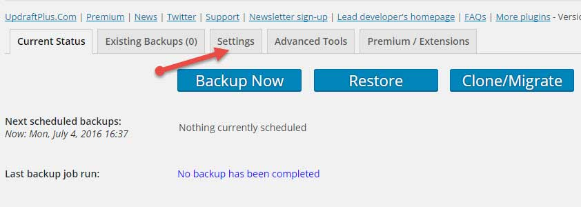 UpdraftPlus Backups Plugin setup