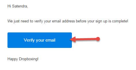 Verify dropbox email