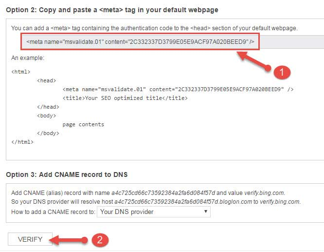 Verify your blog in bing webmaster tool