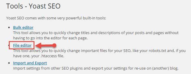 Yoast seo file editor tools