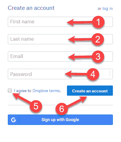 dropbox account sign up form