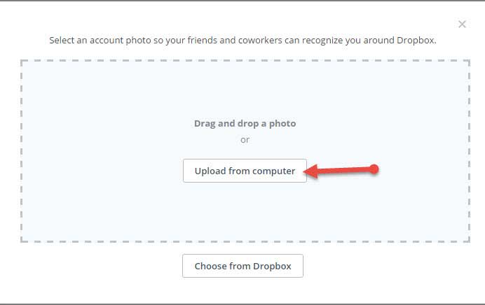 upload dropbox profile image