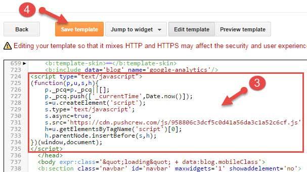 Add Pushcrew code in blogger blog