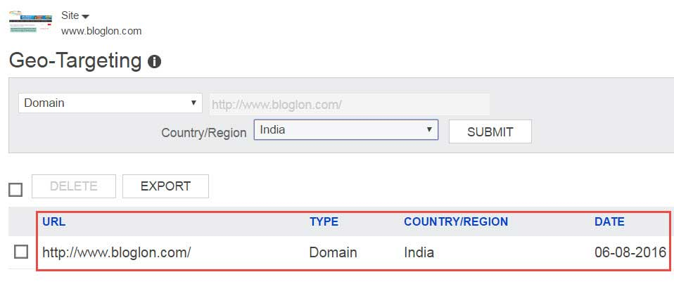 Bing webmaster tools Geo-Targeting setting success