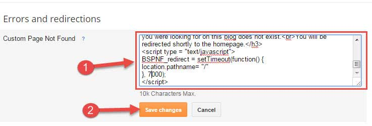 Save custom page not found html code in blogger
