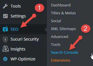 Yoast seo search console feature