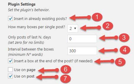 inline related posts plugin internal settings