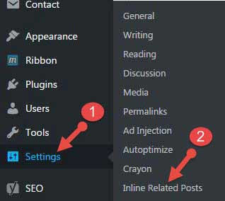 inline related posts plugin settings options