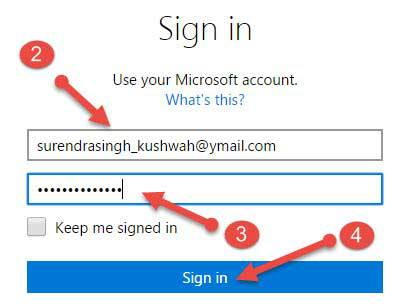 microsoft account par sign in kare