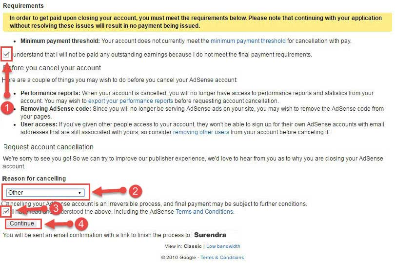 Reason for cancelling adsense account