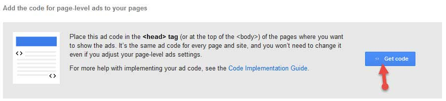 Get AdSense Page Level Ads code