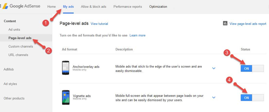 AdSense Page Level Ads setup