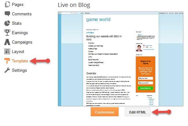Blogger Edit html
