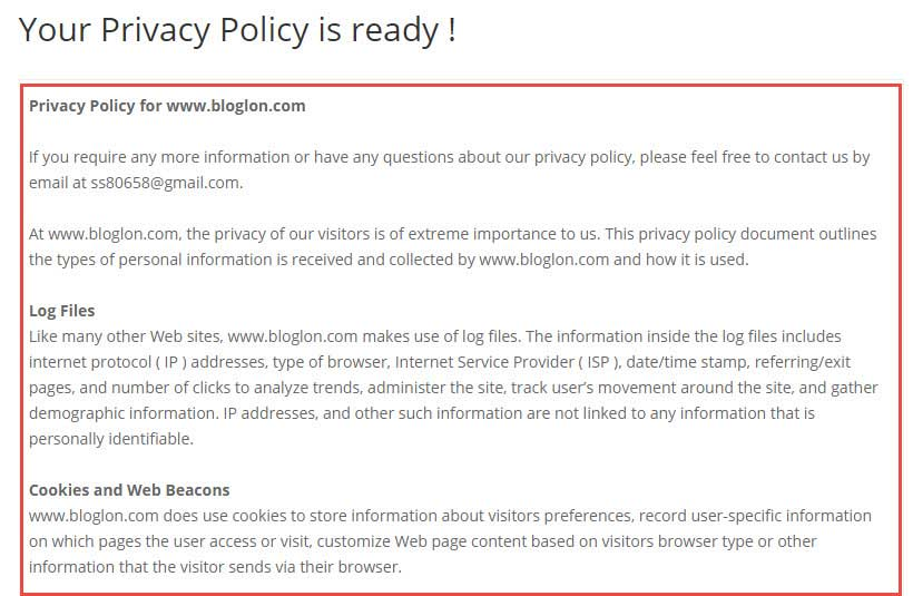 Copy privacy policy from generator tool