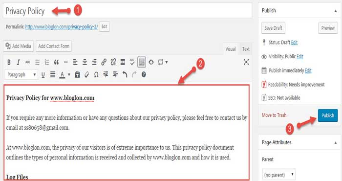 Publish WordPress privacy policy page