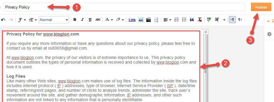 Publish privacy policy page in blogger