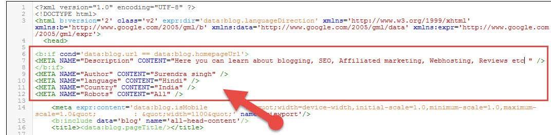 Add blogger meta tags code