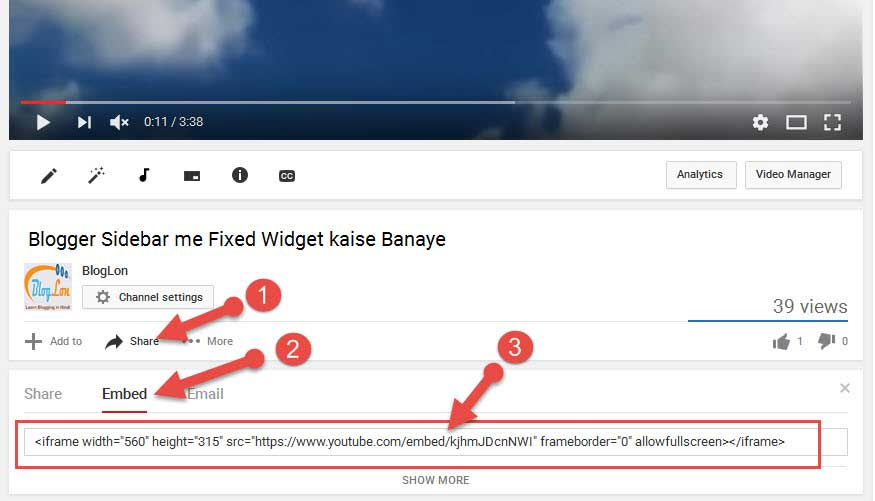 Youtube video ka embed code kaise prapt kare