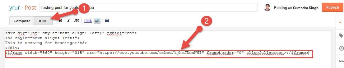 Youtube video ko Blogger post me kaise add karte hai
