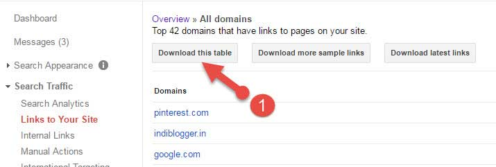 Download backlinks list-search console