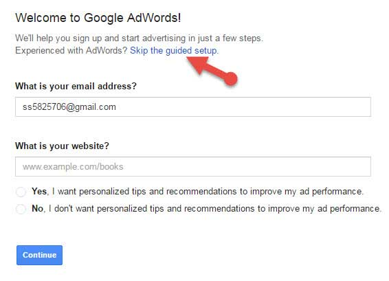Google adwords account signup