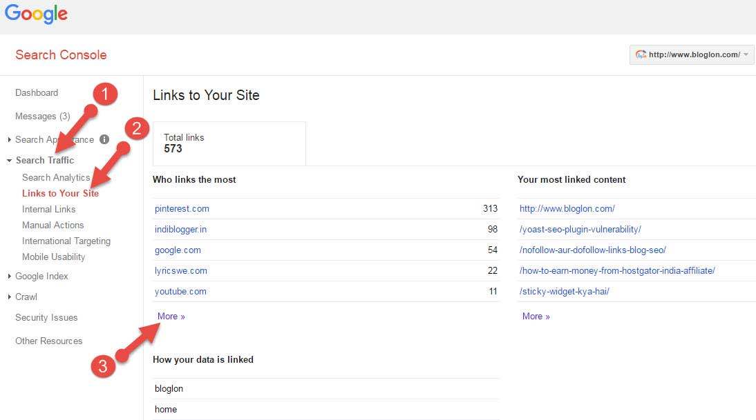 Link to your site-search console