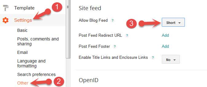 Blogger site feed settings