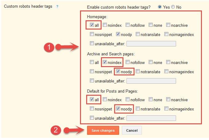Custom robots header tags settings in blogger